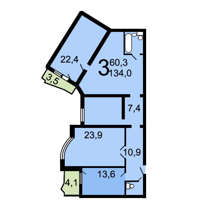 Планировки трехкомнатных квартир в домах серии и-155-н.