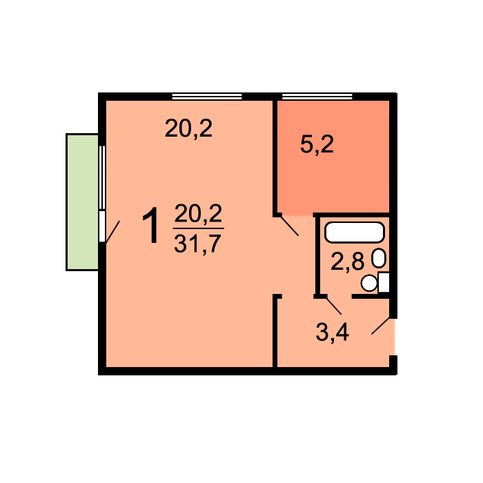 Планировки однокомнатных квартир в домах серии i-510.