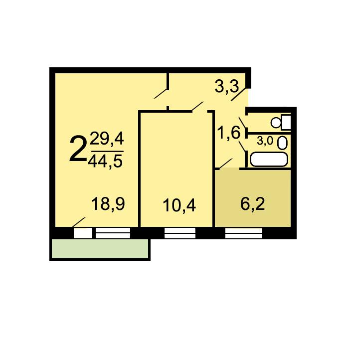 Планировки двухкомнатных квартир в домах серии i-515/9м.