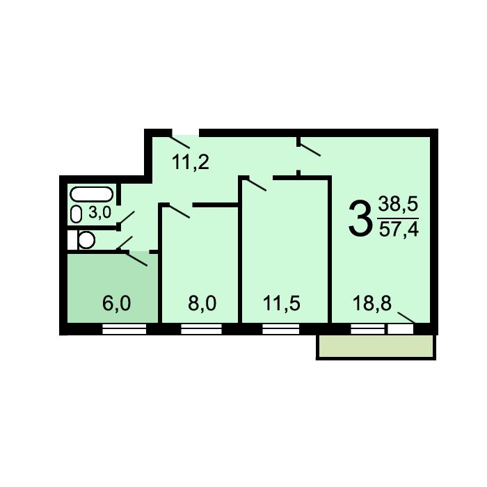 Планировки трехкомнатных квартир в домах серии i-515/9ш.