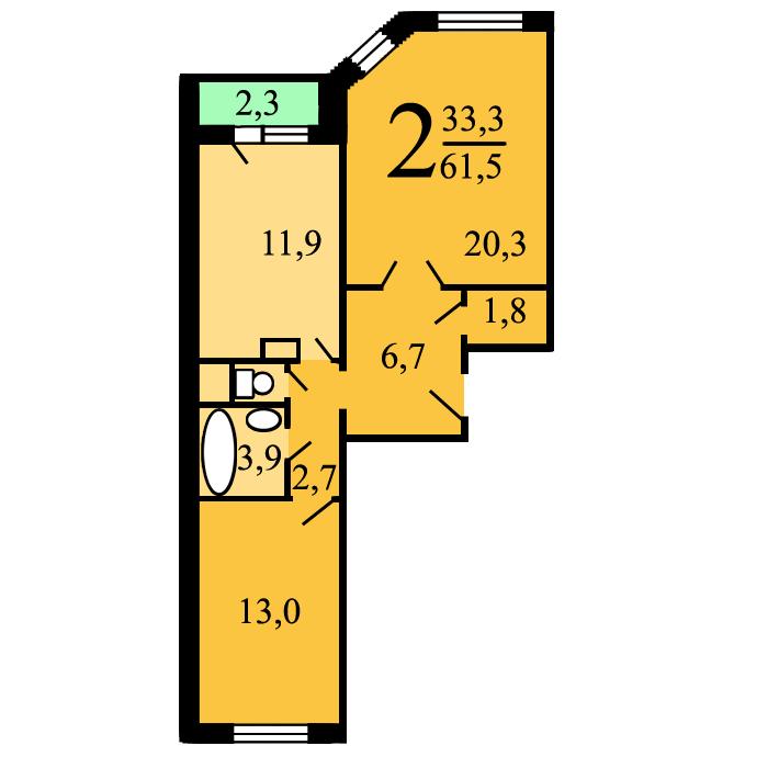 Планировки двухкомнатных квартир в домах серии ип-46с.