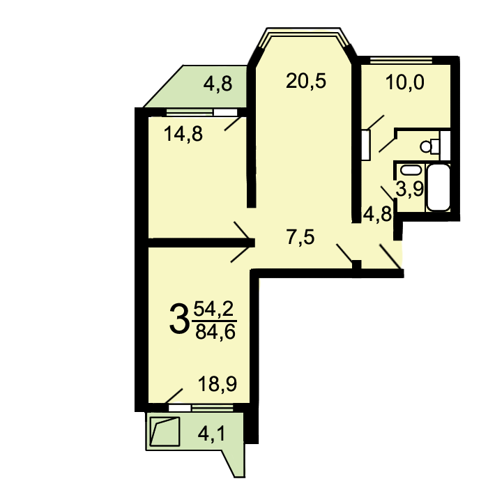 Планировка 1 однокомнатной квартиры п44т фото с размерами | Студия Дениса  Серова | 700x700