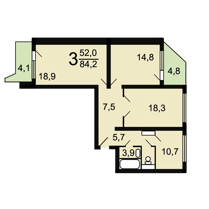 Трехкомнатная квартира п44т планировка